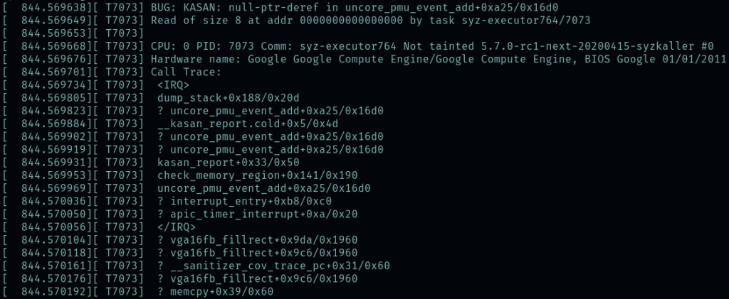 Console output of a stack trace following a kernel bug