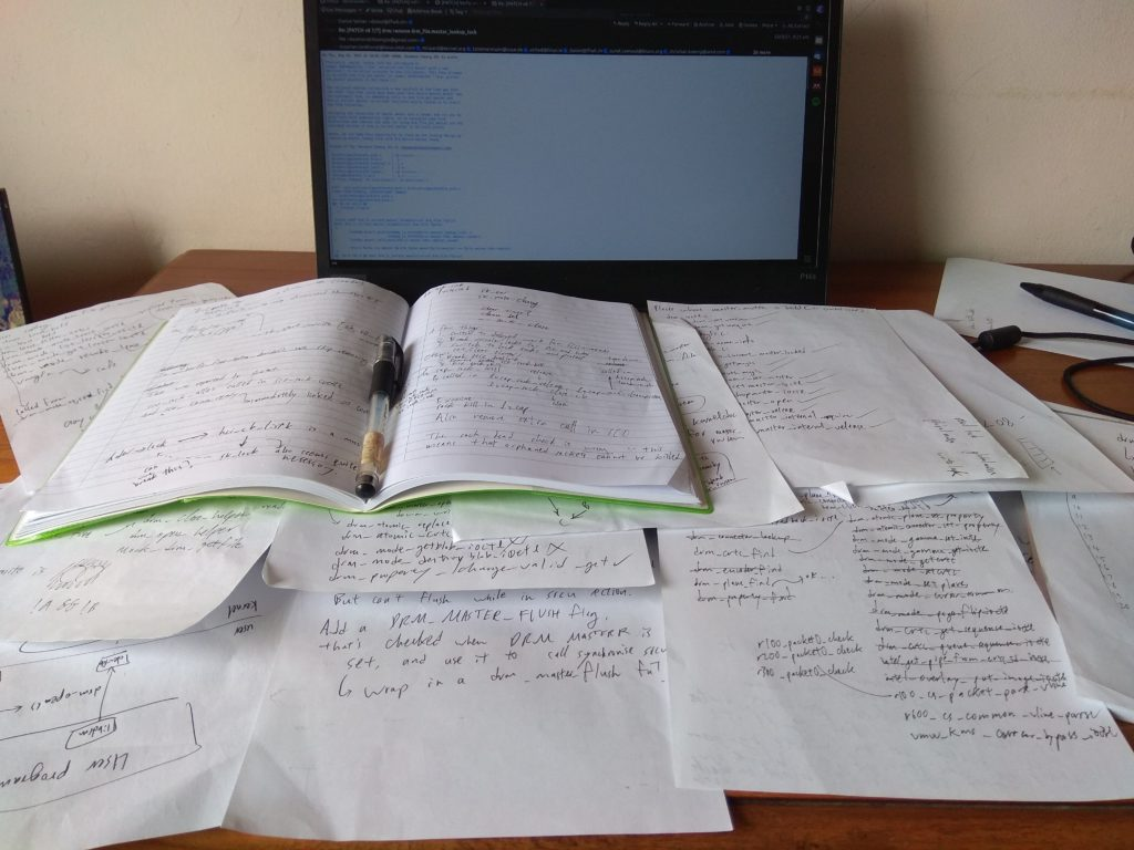 Scattered papers with deranged writing sprawled on my desk.